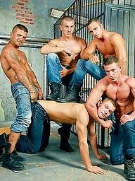Five muscle studs Tomi, Giuseppe Pardi, Steve Spy, Jeffry Branson and Mr. Blade