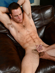 Getting jerked and fucked has muscular jock Dean relaxing and being milked dry by another guy