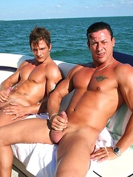 Two Naked Muscle Hunks Jerking Off On The Boat
